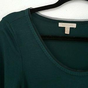 Anthro Bordeaux XS Green 3/4 sleeve top